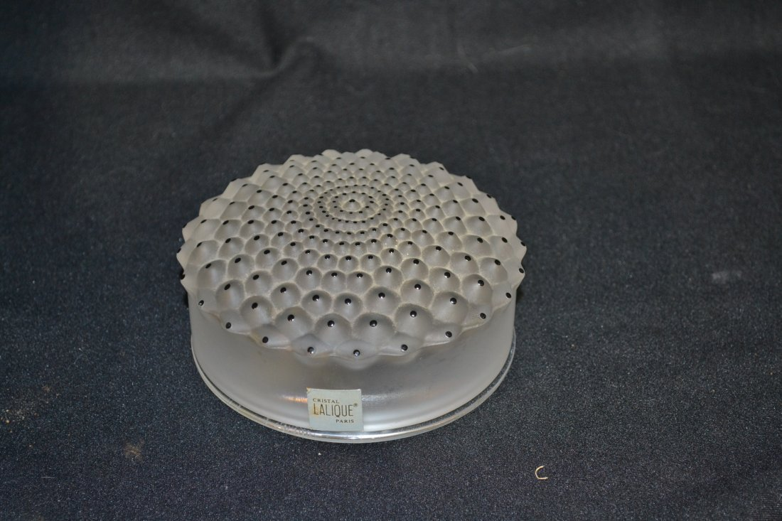 "202: LALIQUE CRYSTAL ""CACTUS"" POWDER BOX - 4 1/4"" x 2"""