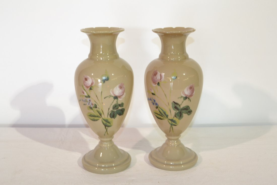 "208: (Pr) HAND PAINTED BRISTOL VASES - 12 1/4"" TALL"