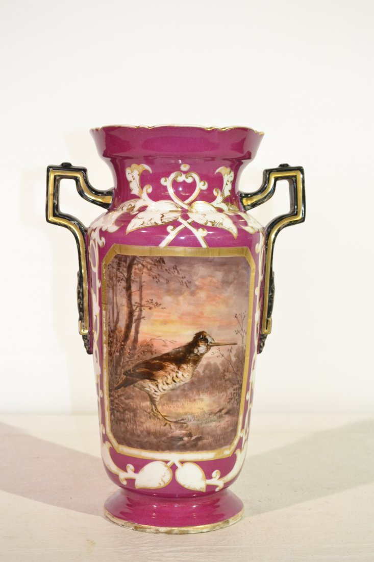 210: HAND PAINTED OLD PARIS TWIN HANDLE VASE WITH