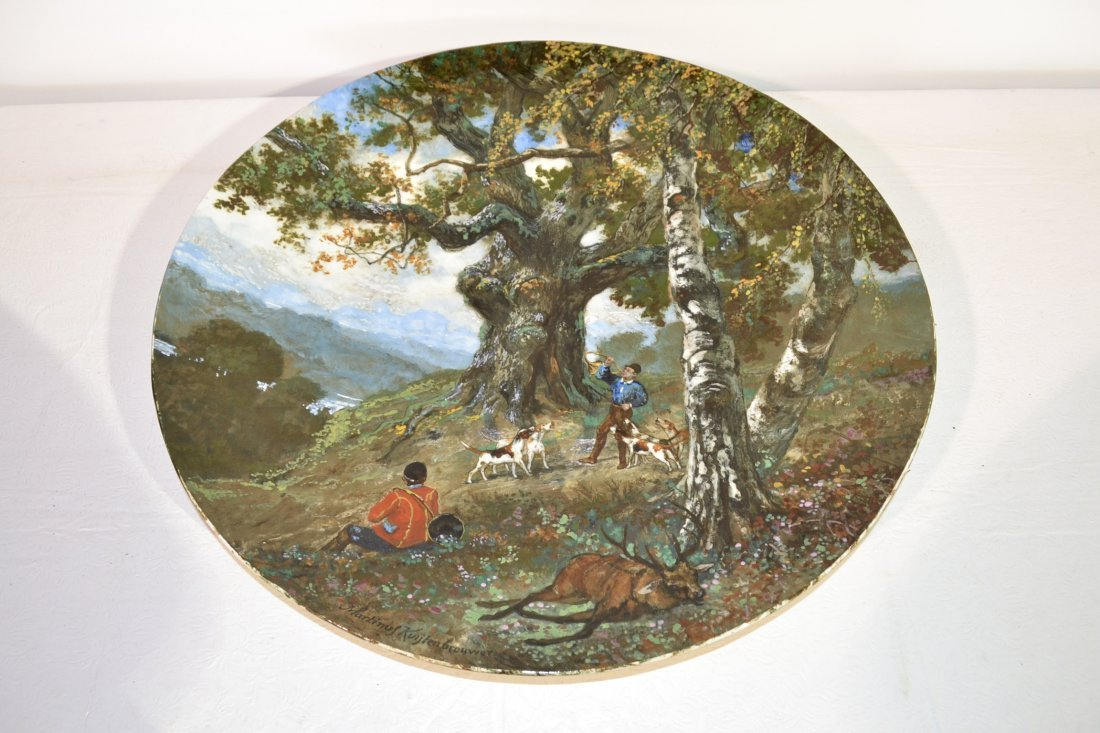 301: 19thC HAND PAINTED ENAMEL HUNT SCENE CHARGER