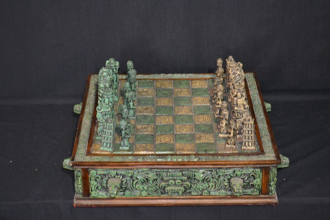 222A: CARVED MAYAN INDIAN STYLE STONE CHESS SET