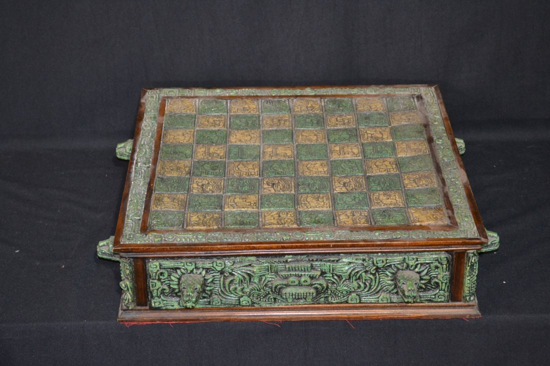 222A: CARVED MAYAN INDIAN STYLE STONE CHESS SET - 2