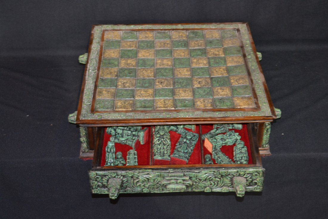 222A: CARVED MAYAN INDIAN STYLE STONE CHESS SET - 3