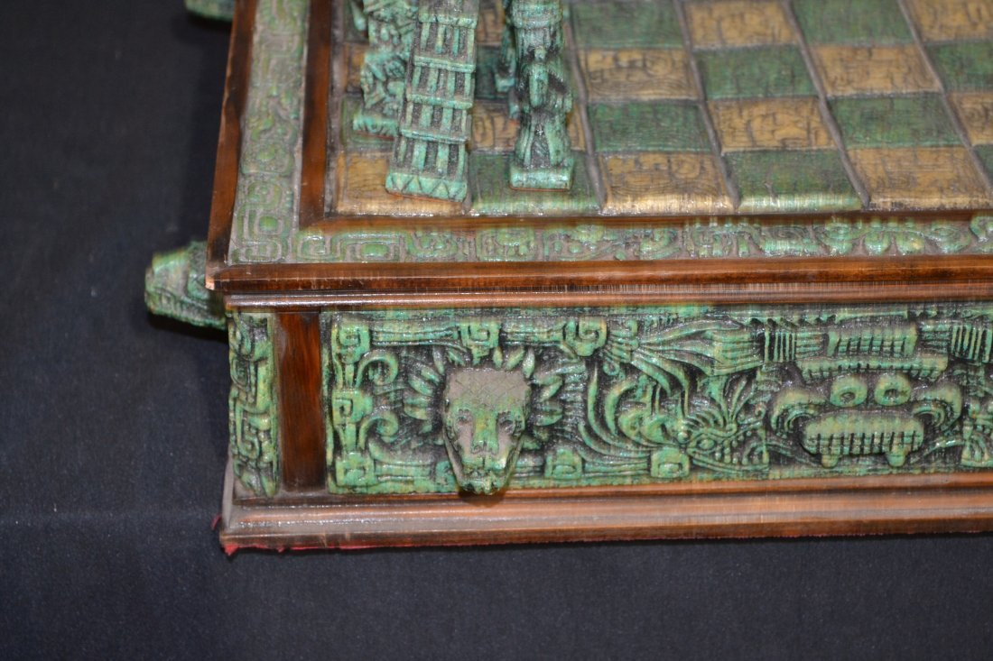 222A: CARVED MAYAN INDIAN STYLE STONE CHESS SET - 4