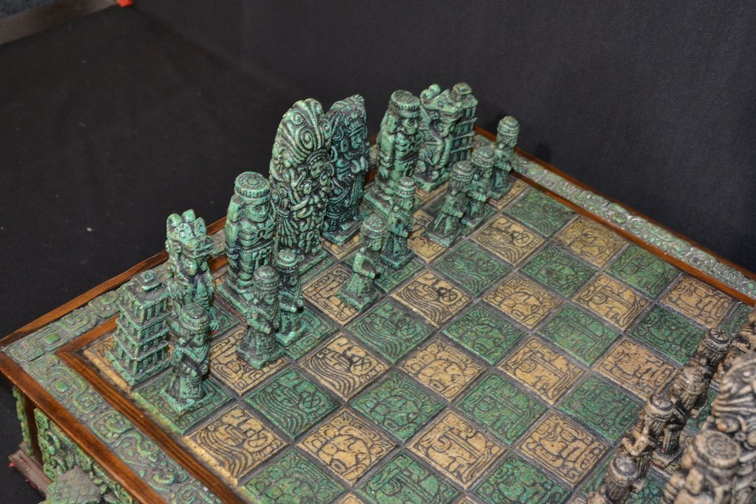 222A: CARVED MAYAN INDIAN STYLE STONE CHESS SET - 6