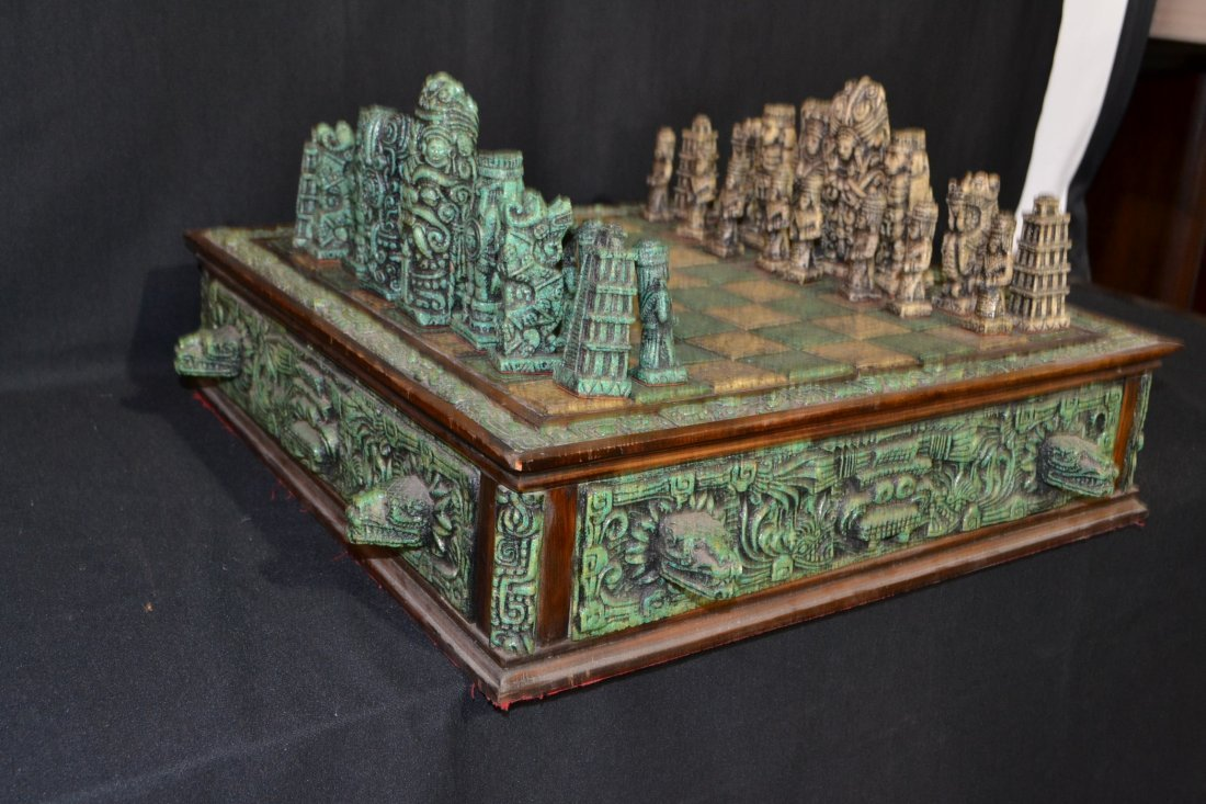 222A: CARVED MAYAN INDIAN STYLE STONE CHESS SET - 7