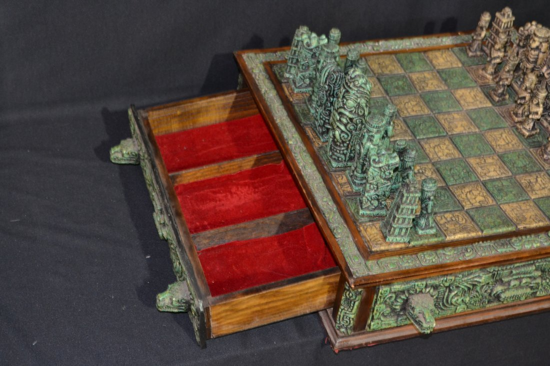 222A: CARVED MAYAN INDIAN STYLE STONE CHESS SET - 9