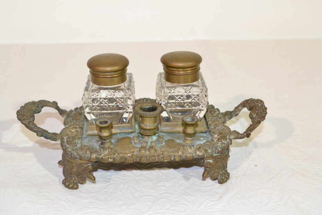 202: BRONZE FOOTED DOUBLE INKWELL WITH HANDLES &