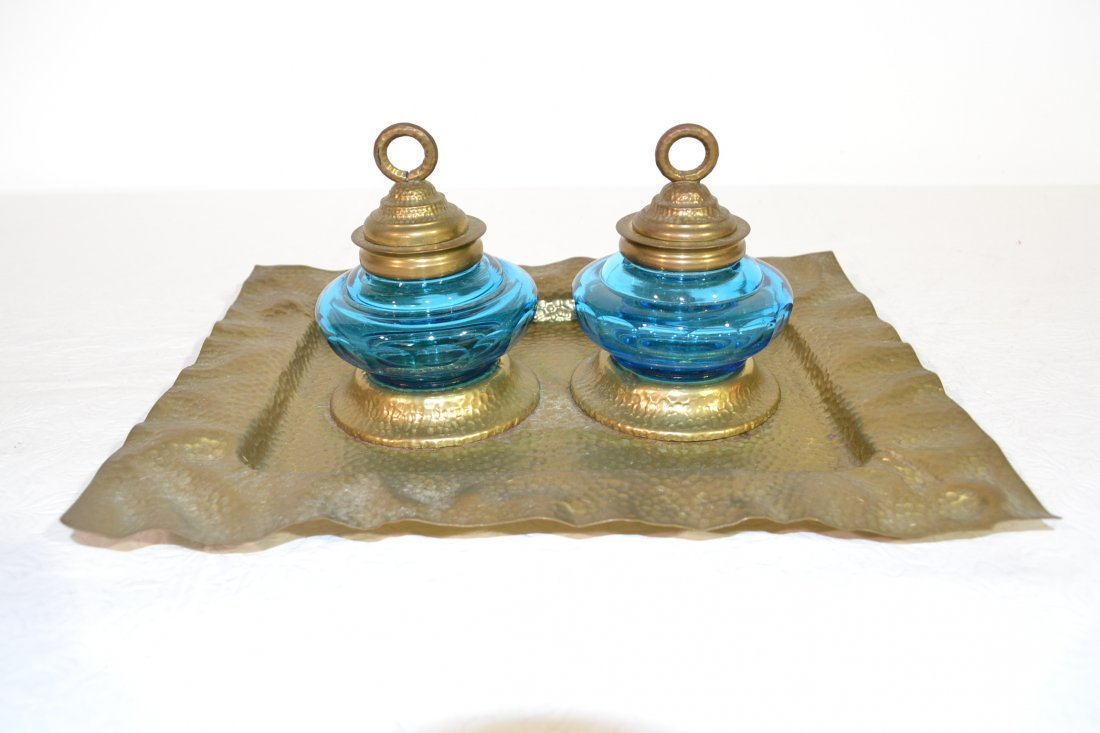 204: VICTORIAN HAMMERED BRASS DOUBLE INKWELL WITH