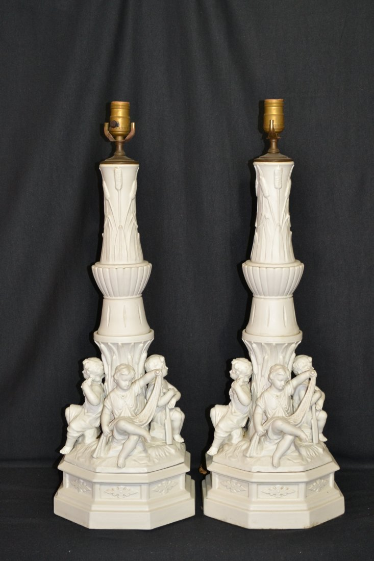 215: (Pr) BISQUE LAMPS WITH (4) CHILDREN SURROUNDING