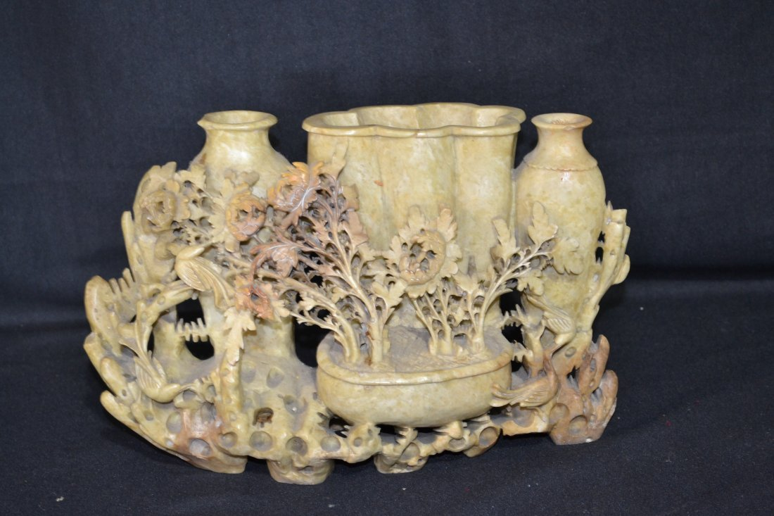 216: LARGE CARVED SOAPSTONE VASE WITH BIRDS & FLOWERS