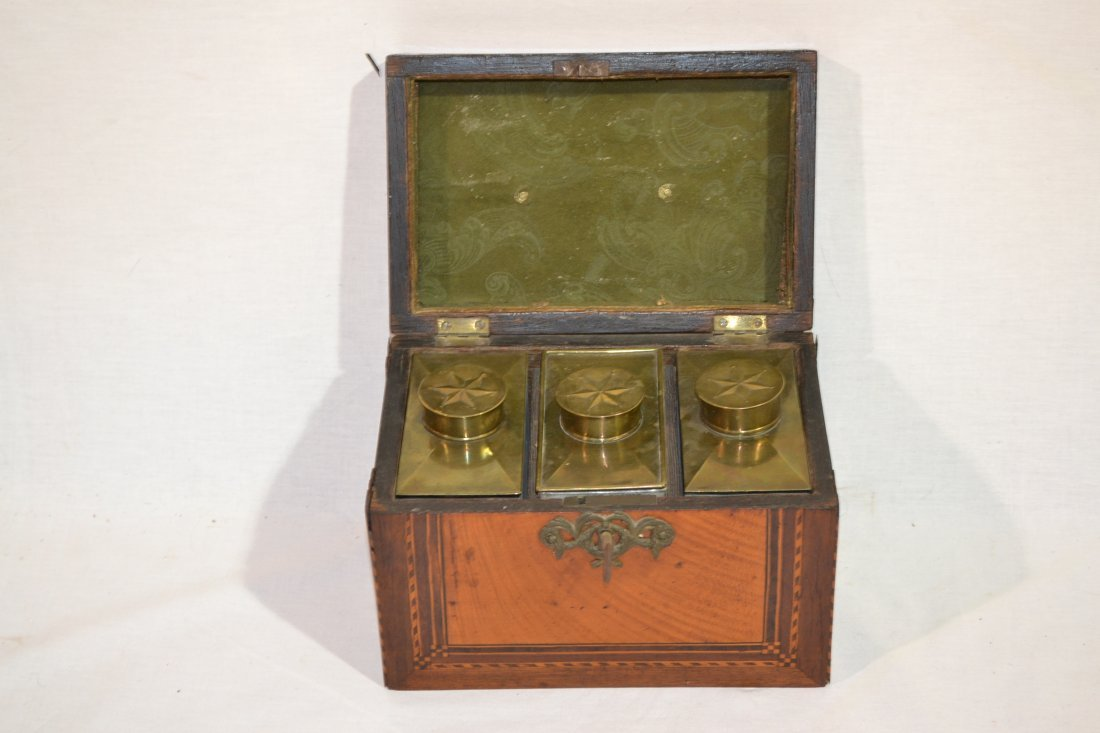 180: 19thC INLAID TEA CADDY WITH (3) ORIGINAL BOXES