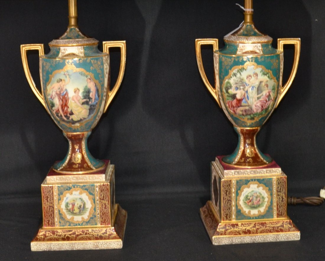 184A: (Pr) ROYAL VIENNA STYLE PORCELAIN LAMPS WITH