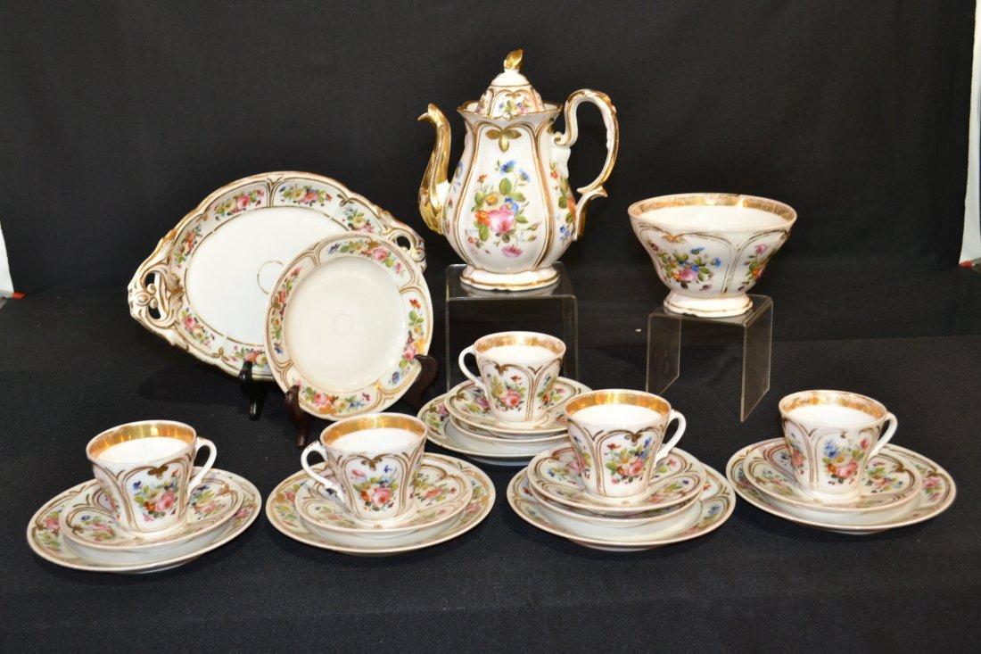 186: (19)pc HAND PAINTED OLD PARIS TEA SET CONSISTING