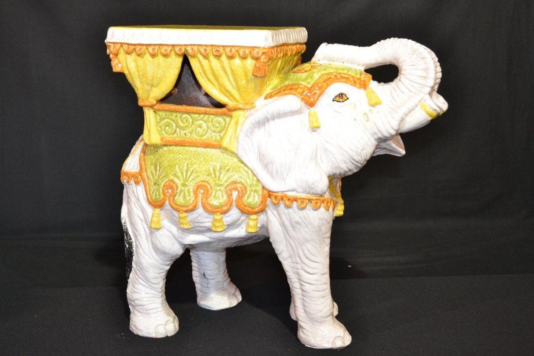 188: MAJOLICA ELEPHANT GARDEN SEAT MARKED ITALY