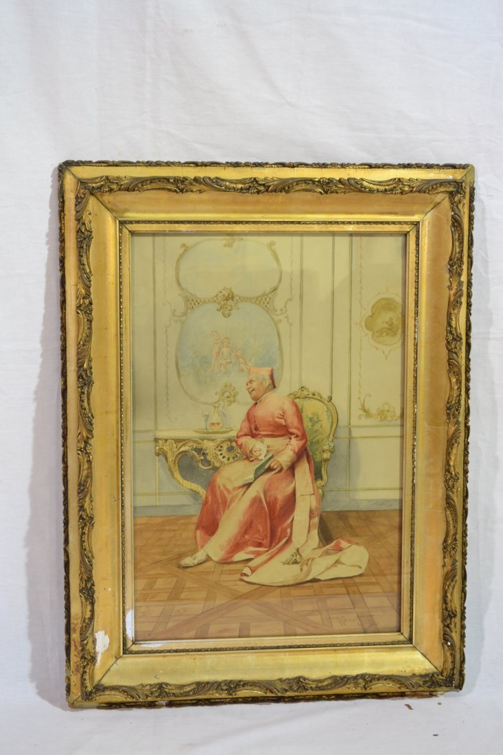 195A: WATERCOLOR OF SEATED CARDINAL SIGNED A.RENOT