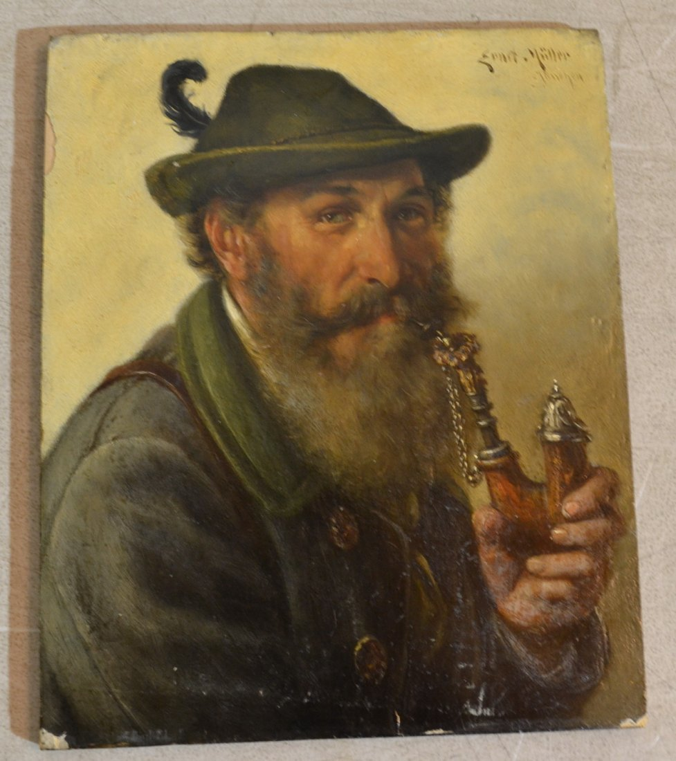 196: OIL ON BOARD OF TYROLEAN MAN WITH PIPE SIGNED