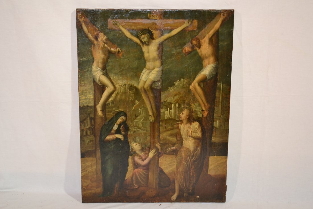196A: OIL ON BOARD OF JESUS ON THE CROSS IN THE CENTER
