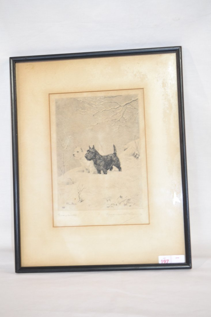 """197: """"SNOWBIRDS"""" ETCHING OF SCOTTISH TERRIERS SIGNED"""