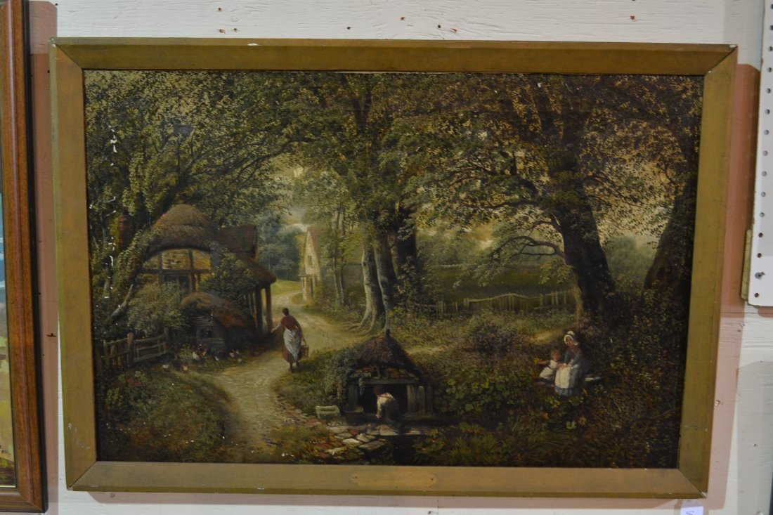 197A: OIL ON CANVAS WOMEN WITH BUCKETS & CHICKENS