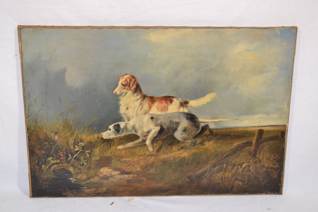 198: 19thC OIL ON CANVAS DOGS HUNTING BIRDS SIGNED