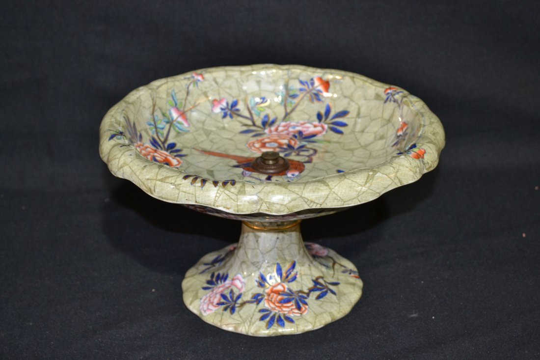 205: HAND PAINTED COPELAND TAZZA WITH BIRDS & FLOWERS