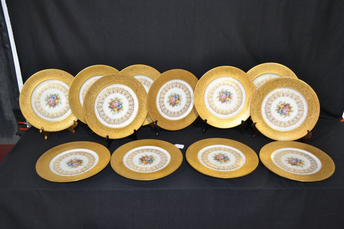 212: (12) HEINRICH & Co. SERVICE PLATES WITH FLORAL