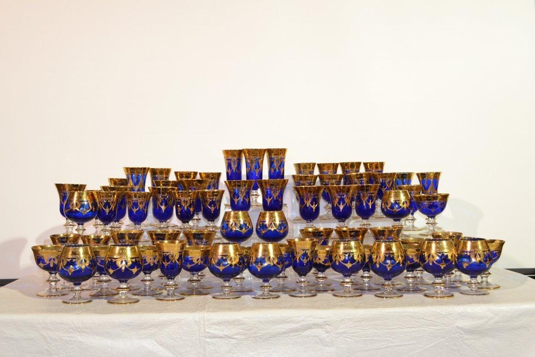 213: (70)pc COBALT & GOLD DECORATED STEMWARE GLASSES