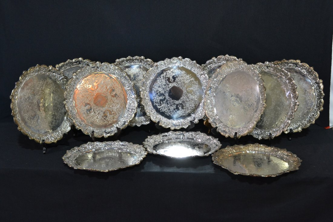 """215: (12) TOWLE SILVER PLATE SERVICE PLATES - 12"""""""