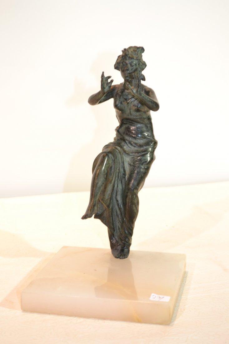 218: BRONZE WOMAN DANCING ON ONYX BASE