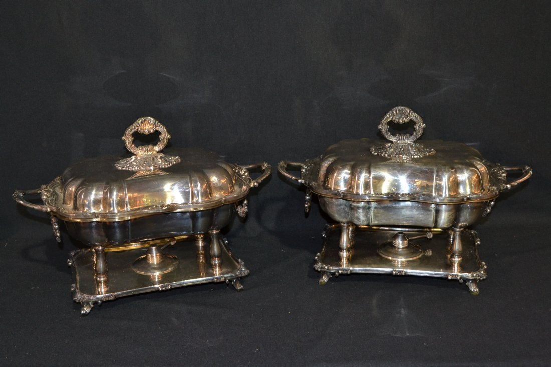 """213A: (Pr) SILVER PLATE COVERED TUREENS - 16"""" x 12"""""""