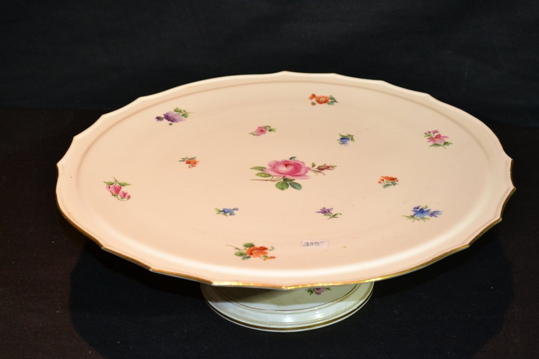 212: FLORAL DECORATED MEISSEN CAKE STAND -