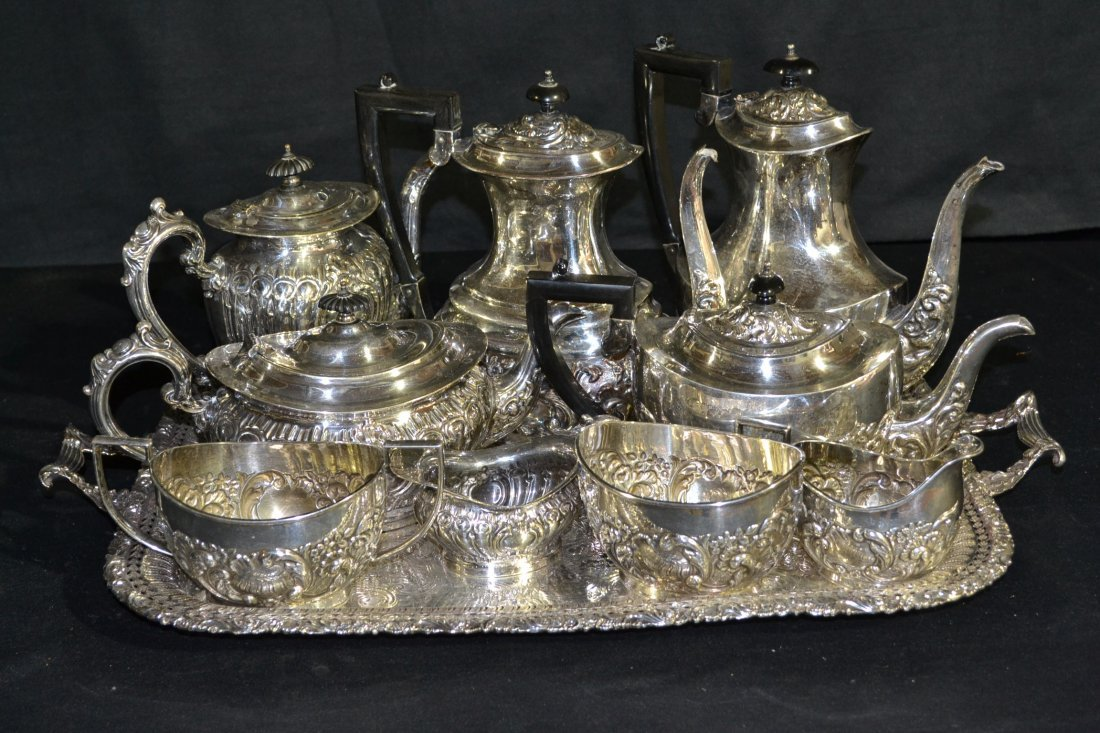 214: (10pc's OF ASSORTED EMBOSSED SILVER PLATE TEA