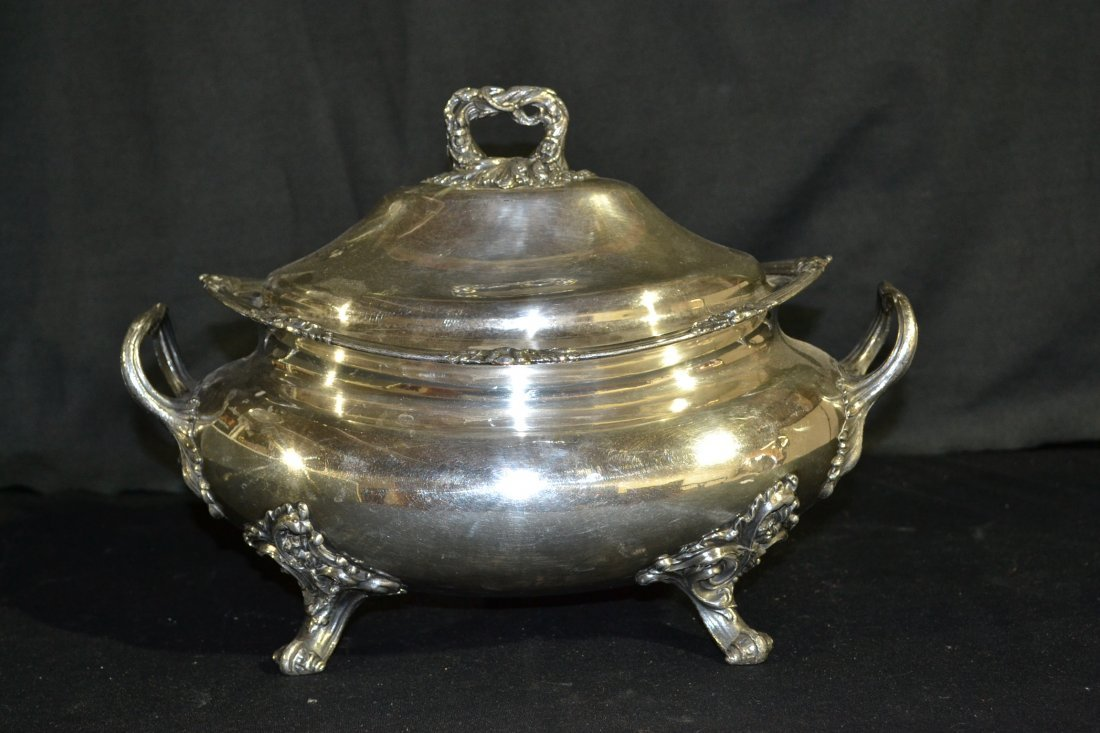 """215: SILVER PLATE COVERED & FOOTED TUREEN - 14 1/2"""" x"""