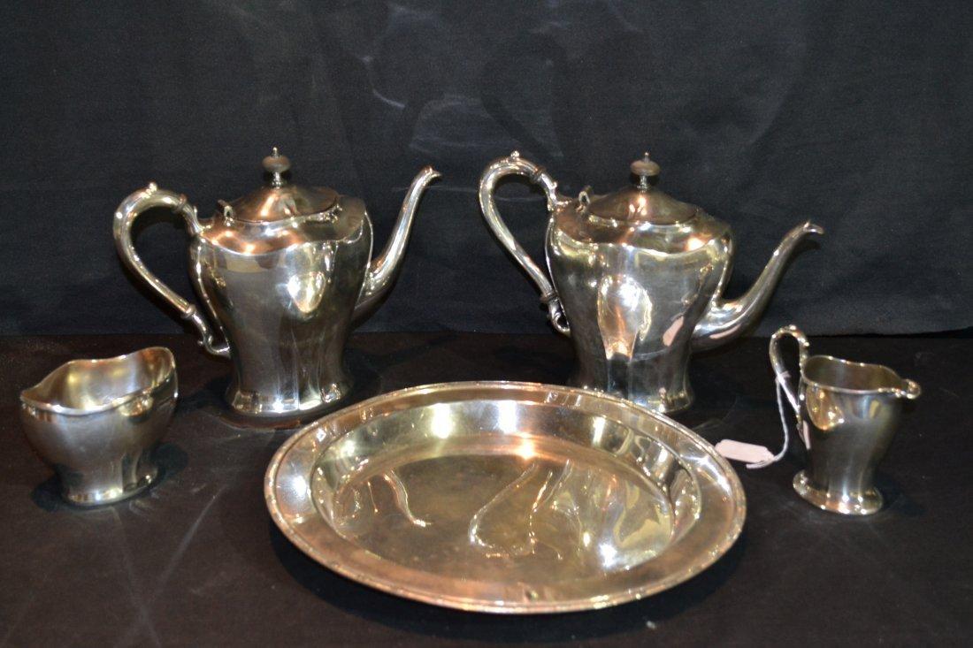 216: (4)pc ENGLISH SILVER PLATE TEA SERVICE & TRAY