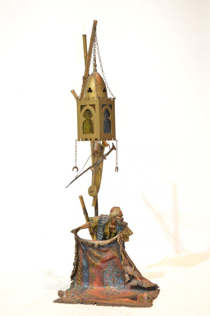 299: ORIENTALIST AUSTRIAN BRONZE LAMP OF ARAB SHOWING