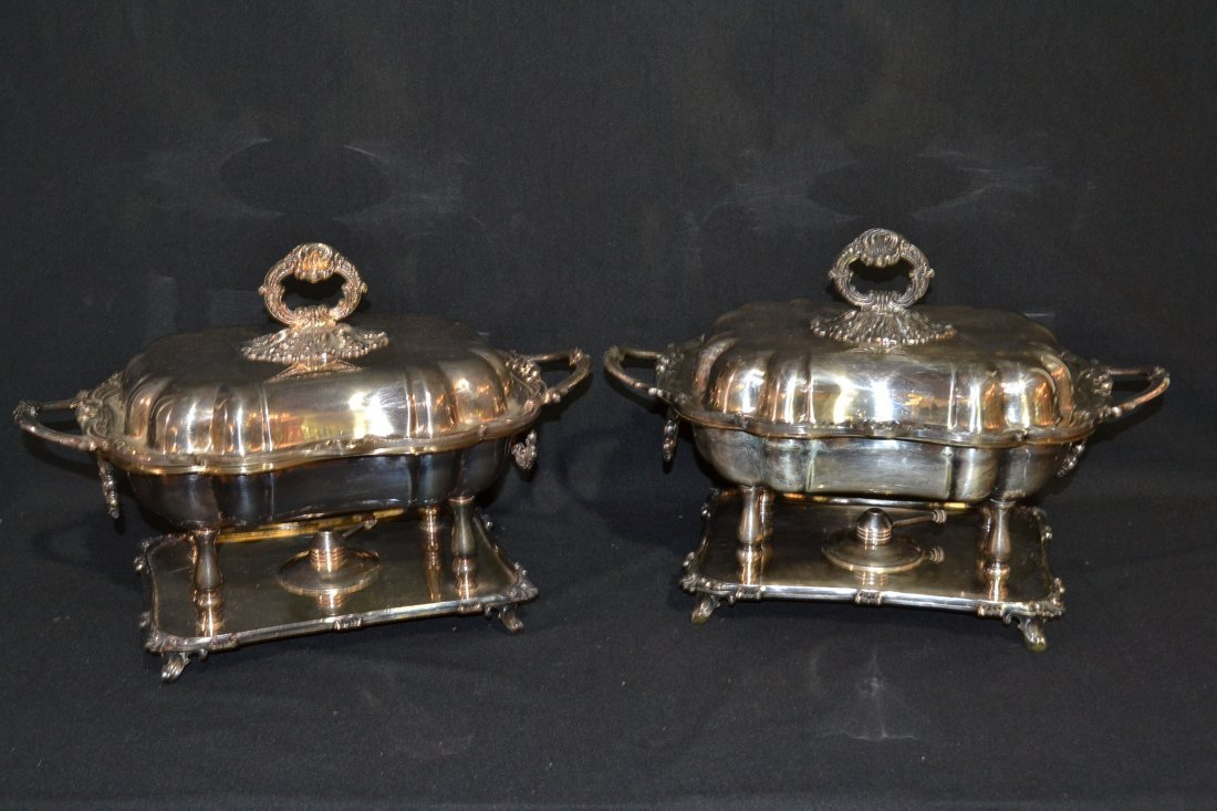 """218A: (Pr) SILVER PLATE COVERED TUREENS - 16"""" x 12"""""""