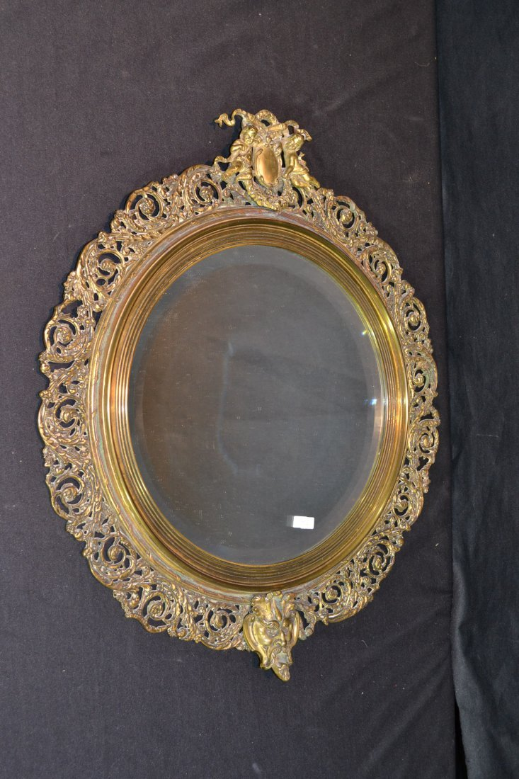205A: CARVED RETRICULATED BRONZE BEVELED MIRROR WITH