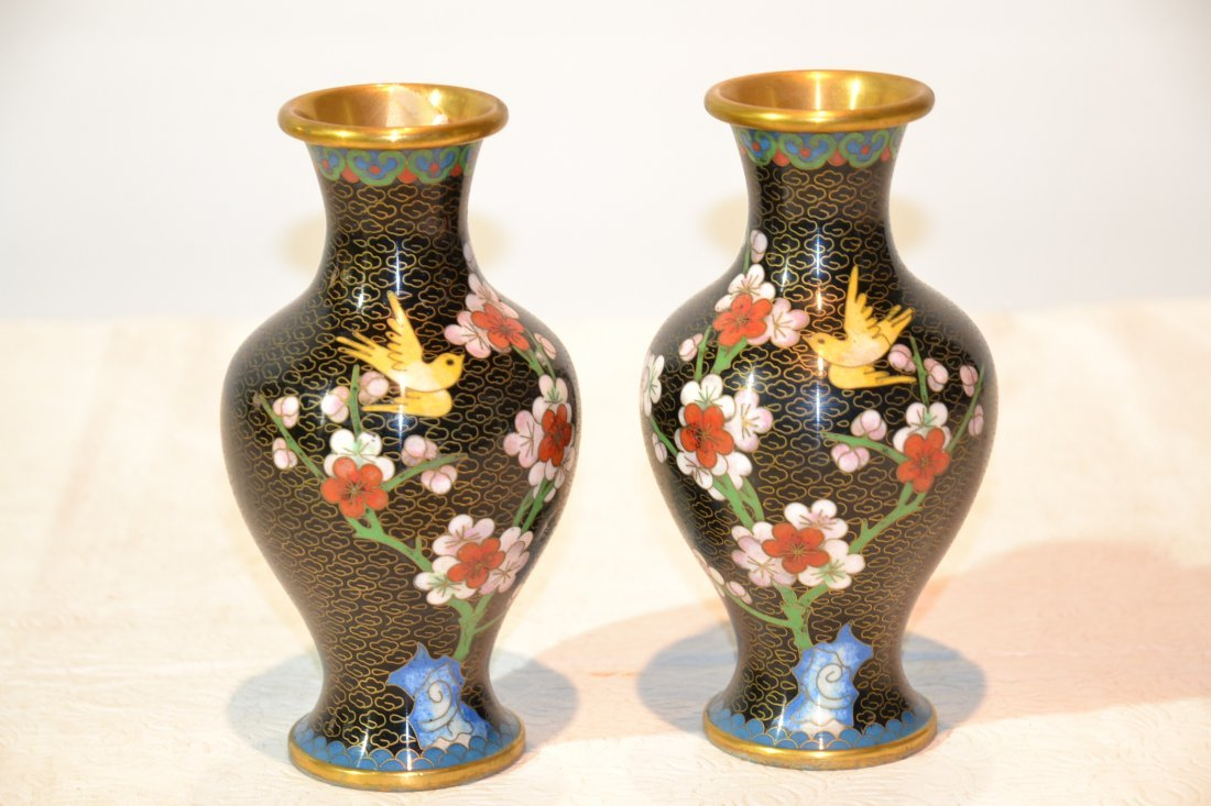 """201: (Pr) CLOISONNE VASES WITH BIRDS - 6"""" TALL"""
