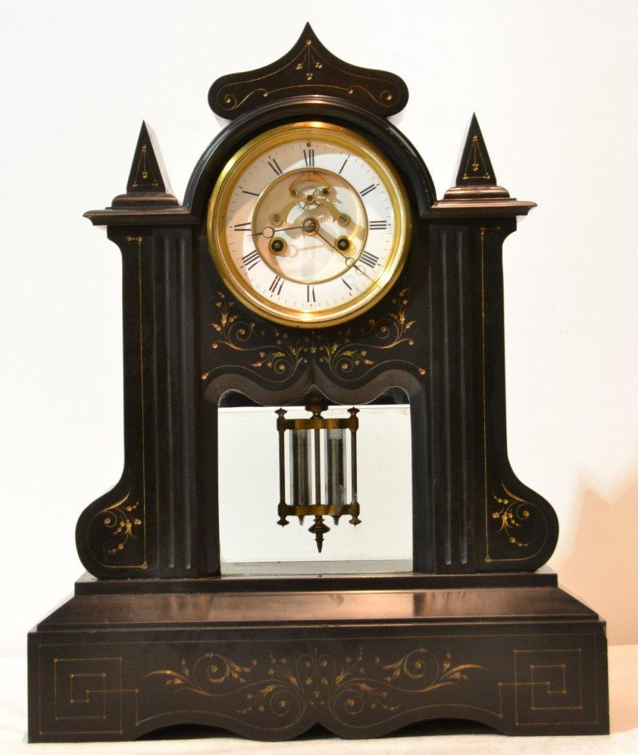 299: 19thC TIFFANY BLACK MARBLE OPEN ESCAPEMENT CLOCK