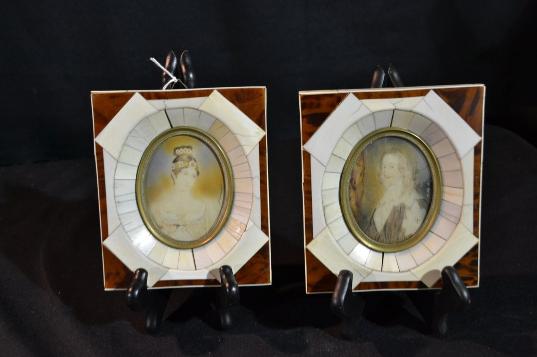 181: (Pr) ARTIST SIGNED HAND PAINTED IVORY PORTRAITS IN