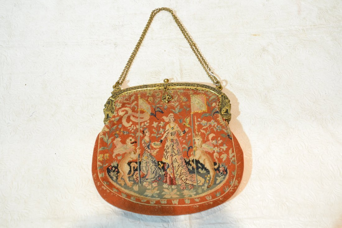185A: VICTORIAN PETTIPOINT BAG WITH WOMEN , BIRDS &