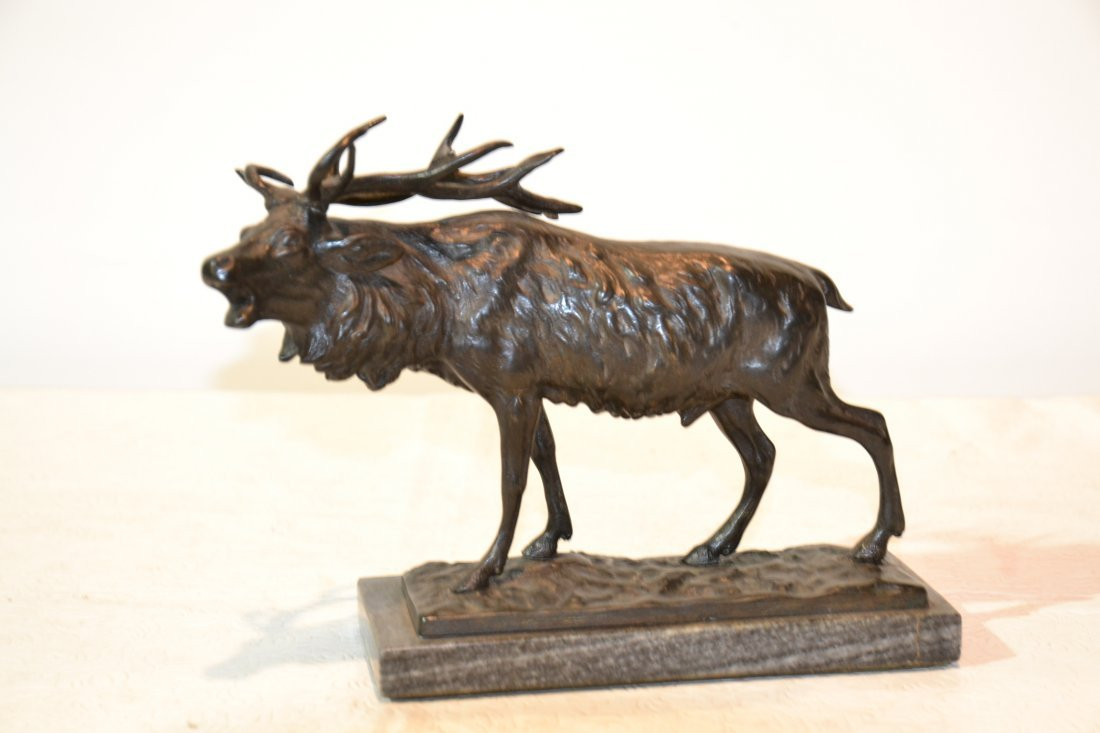 """193: BRONZE STAG ON MARBLE BASE - 9"""" x 6"""""""