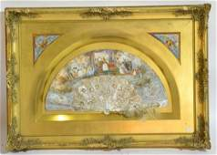 317: FRAMED 19thC FRENCH FAN WITH HAND PAINTED CEREMONY