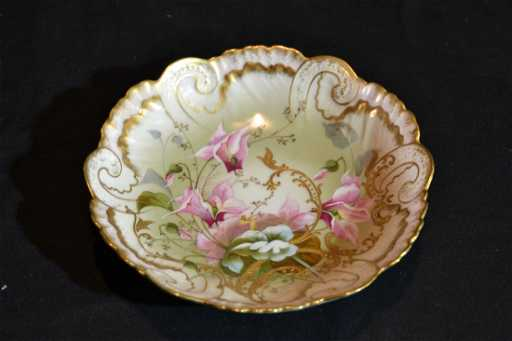 HAND PAINTED LIMOGES CORONET BOWL