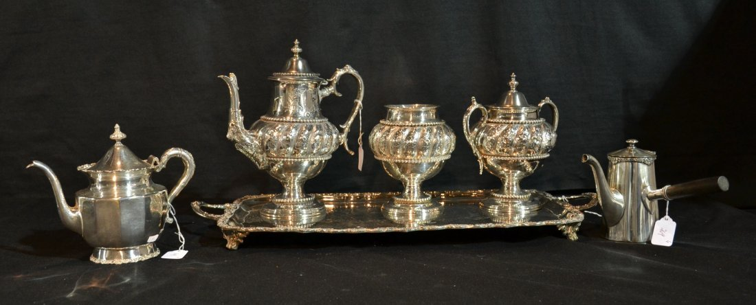 SILVER PLATE LOT INC-(3)pc's EMBOSSED TEA SERVICE