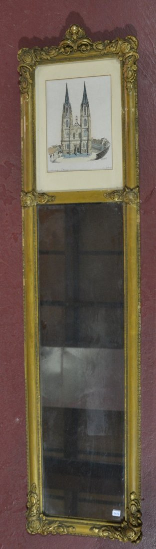 TRUMEAU MIRROR WITH PRINT IN CARVED GILT FRAME