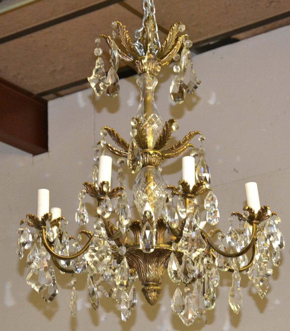 8-ARM BRONZE & CRYSTAL CHANDELIER WITH