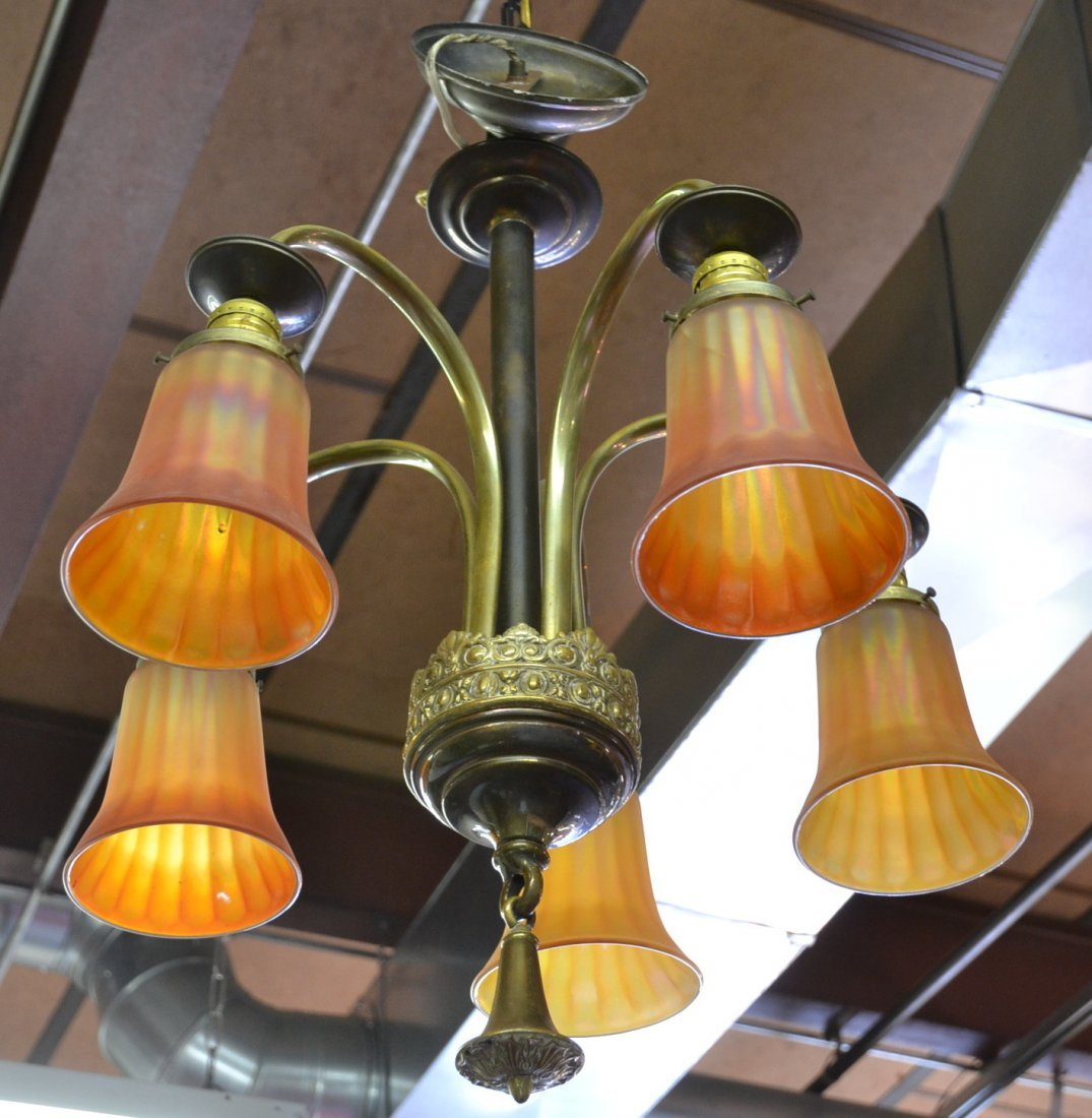 BRASS CHANDELIER WITH (5) CARNIVAL SHADES