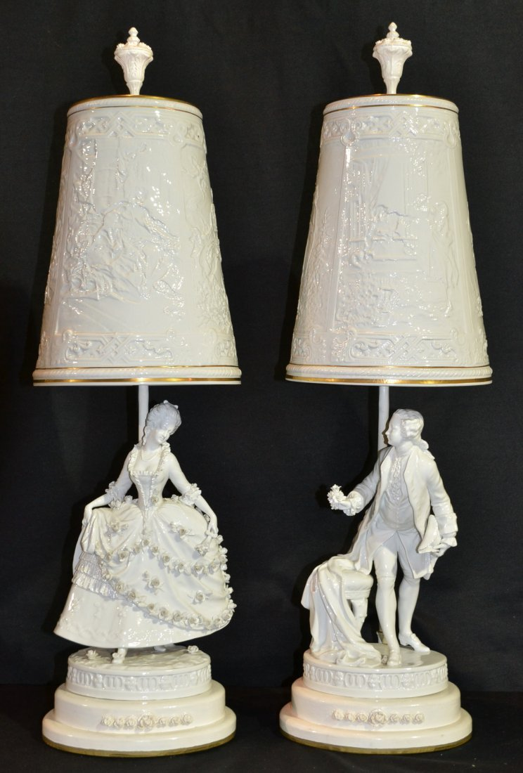 (Pr) FIGURAL NYMPHENBURG LAMPS WITH SCENIC